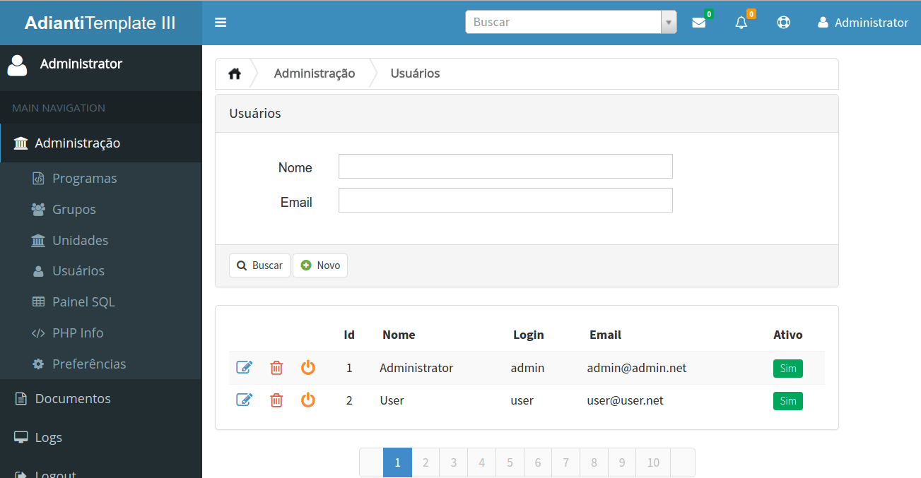 Adianti Framework - Template